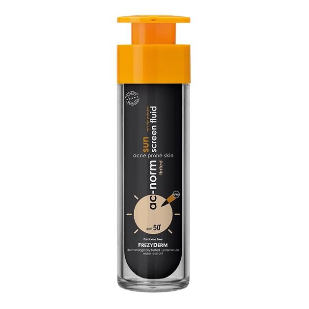 Frezyderm Ac-Norm Sunscreen Fluid Tinted Spf50+ Αντηλιακή Fluid Κρέμα Προσώπου Υψηλής Προστασίας με Χρώμα για Ακνεϊκό Δέρμα 50ml