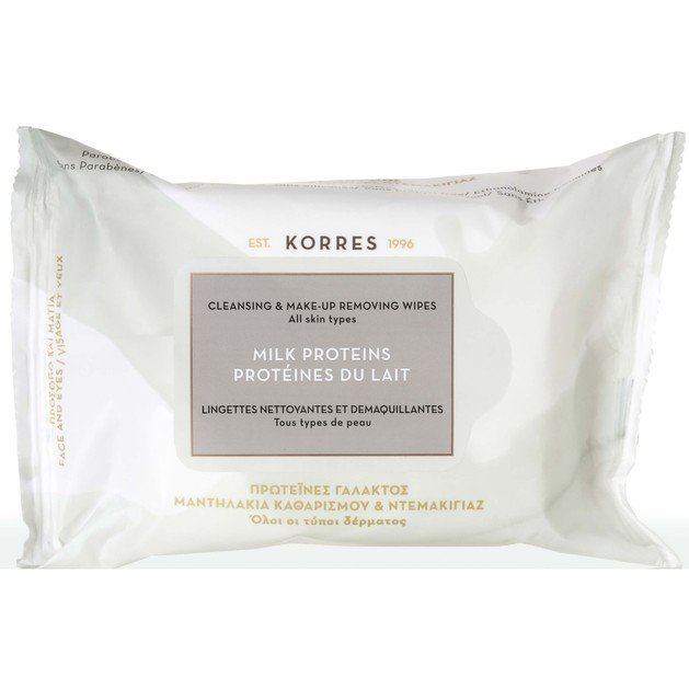 Milk Proteins Μαντηλάκια Καθαρισμού & Ντεμακιγιάζ 25 Tεμάχια - Korres