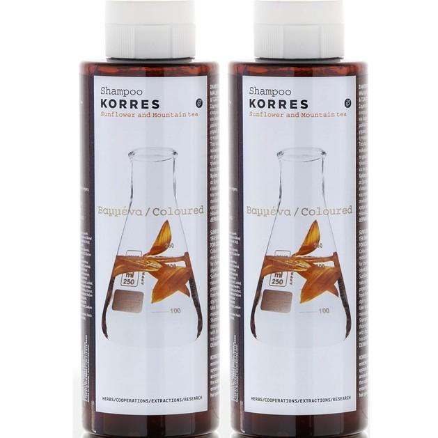 Korres Sunflower & Mountain Tea Shampoo για Βαμμένα Μαλλά 1+1 Δώρο 2χ250ml