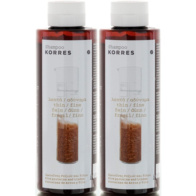 Korres Σαμπουάν με Πρωτεΐνες Ρυζιού &Τίλιο για Λεπτά &Αδύναμα Μαλλιά 250ml 1+1 Δώρο2x250ml