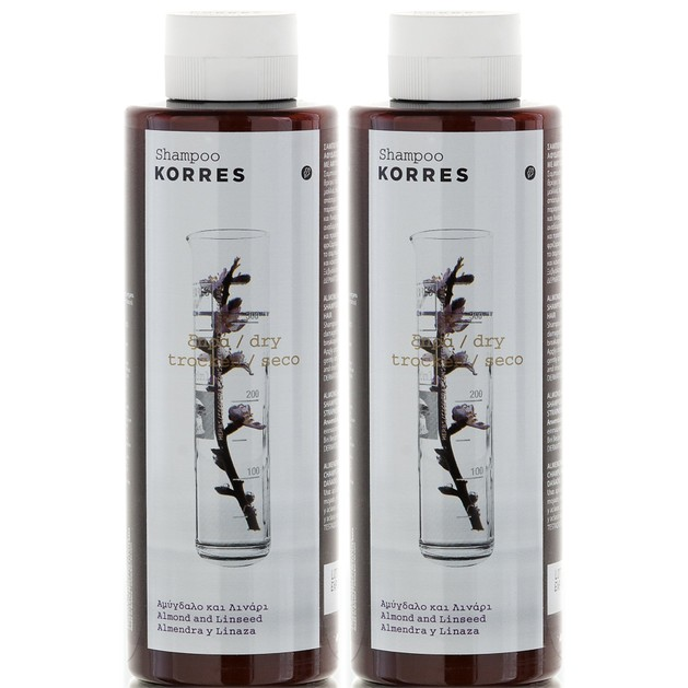 Korres Πακέτο Προσφοράς Almond & Linseed Shampoo 2x250ml Προσφορά -50% στο 2ο Προιόν