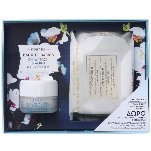 Korres Πακέτο Προσφοράς Almond Blossom Cream 40ml & Δώρο Milk Proteins Wipes 25τμχ