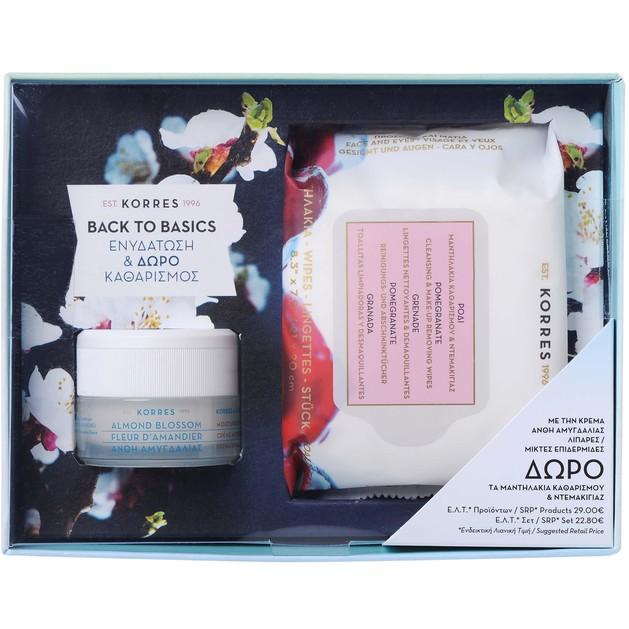 Korres Πακέτο Προσφοράς Almond Blossom Cream Λιπαρές-Μικτές Επιδερμίδες 40ml &Δώρο Pomegranate Wipes Μαντηλάκια Καθαρισμού 25Τμχ
