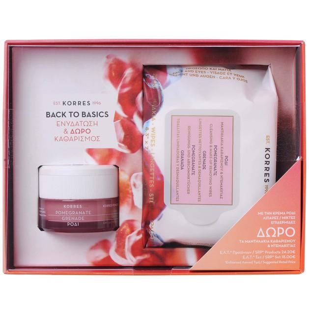 Korres Πακέτο Προσφοράς Pomegranate Gel Cream για Λιπαρές & Μικτές Επιδερμίδες 40ml & Δώρο Pomegranate Wipes Μαντηλάκια 25 Τμχ
