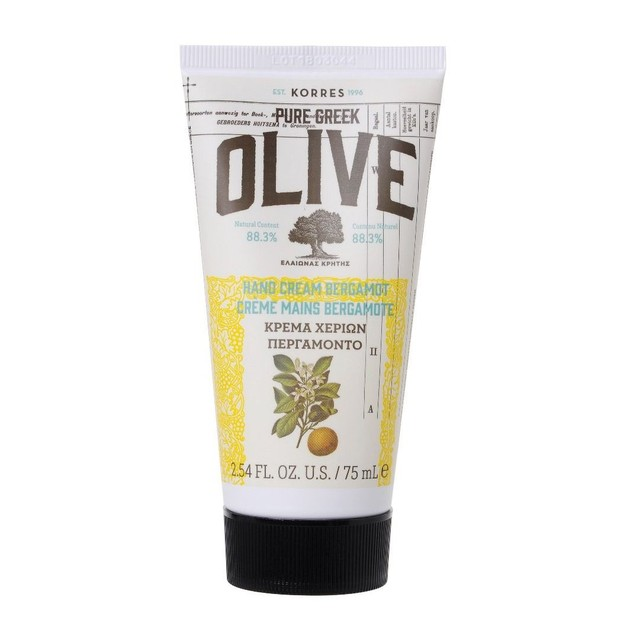 Korres Pure Greek Olive Hand Cream Ενυδατική μη Λιπαρή Κρέμα Χεριών Περγαμόντο 75ml