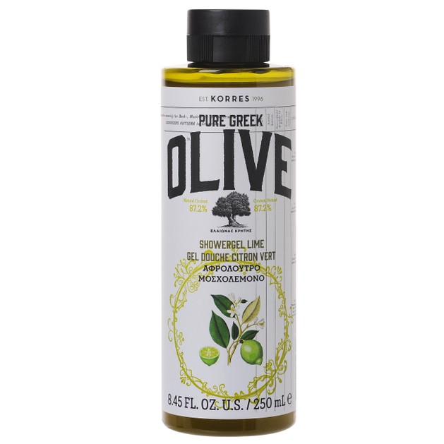 Korres Pure Greek Olive Showergel Lime Τονωτικό Αφρόλουτρο με Εξαιρετικό Παρθένο Ελαιόλαδο & Άρωμα Μοσχολέμονο 250ml