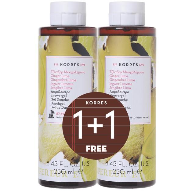 Korres Πακέτο Προσφοράς Shower Gel Ginger Lime 2x250ml 1+1 Δώρο