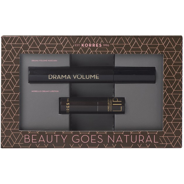 Korres Πακέτο Προσφοράς Drama Volume Mascara Black 11ml & Morello Creamy Lipstick 23 Natural Purple 3.5gr σε Ειδική Τιμή
