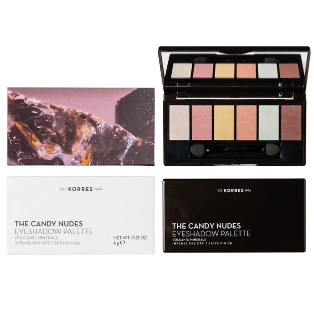 Korres Volcanic Minerals Eyeshadow Palette Παλέτα Σκιών 6 Αποχρώσεων για Τέλεια Απόδοση & Μεταξένιο Φινίρισμα The Candy Nudes 6g