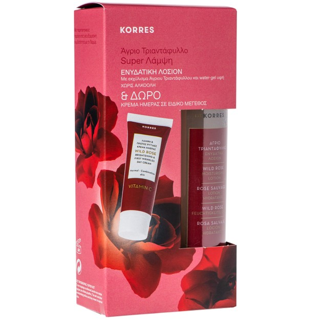 Korres Πακέτο Προσφοράς Wild Rose Moisturising Face Lotion 150ml & Δώρο Wild Rose Face Cream Κανονικές/Μικτές Επιδερμίδες 16ml