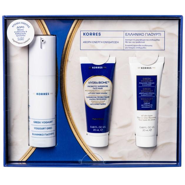 Korres Promo Greek Yoghurt Gel Cream Λιπαρές Επιδερμίδες 30ml & Δώρο Hydra-Biome Probiotic Mask 20ml,Foaming Cream Cleanser 20ml