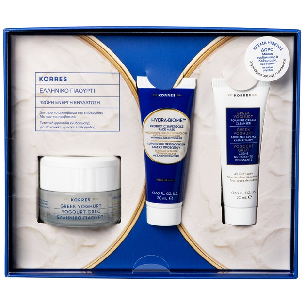 Korres Promo Greek Yoghurt Gel Cream Καν/Μικτές Επιδερμίδες 40ml &Δώρο Hydra-Biome Probiotic Mask 20ml,Foam. Cream Cleanser 20ml