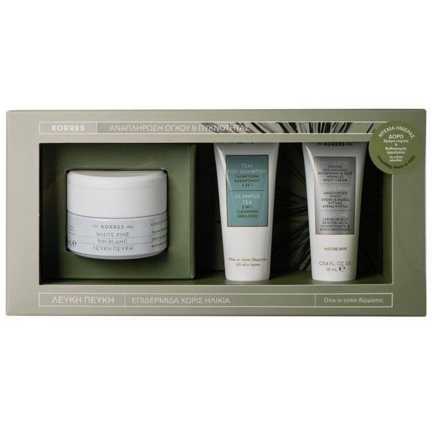 Korres Promo White Pine Λευκή Πεύκη Κρέμα Ημέρας 40ml & Δώρο Λευκή Πεύκη Κρέμα Νύχτας 16ml, Olympus Tea 3 In 1 Cleansing 16ml