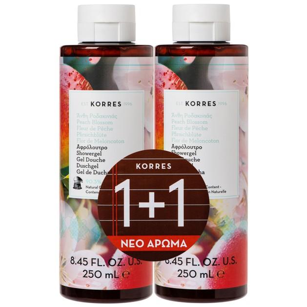 Korres Πακέτο Προσφοράς Peach Blossom Showergel Αφρόλουτρο με Φρέσκο & Φρουτώδες Άρωμα από Άνθη Ροδακινιάς 2x250ml 1+1 Δώρο