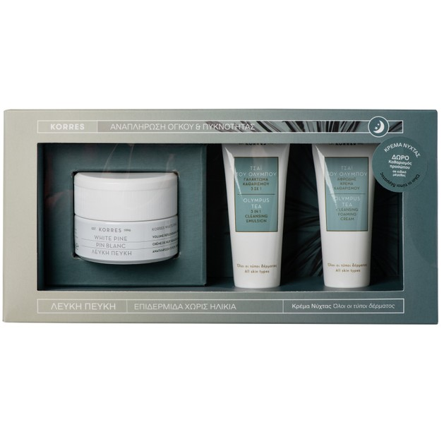 Korres Promo White Pine Λευκή Πεύκη Νύχτας 40ml & Δώρο Olympus Tea Cleansing Foaming Cream 16ml & 3 in 1 Cleansing Emulsion 16ml