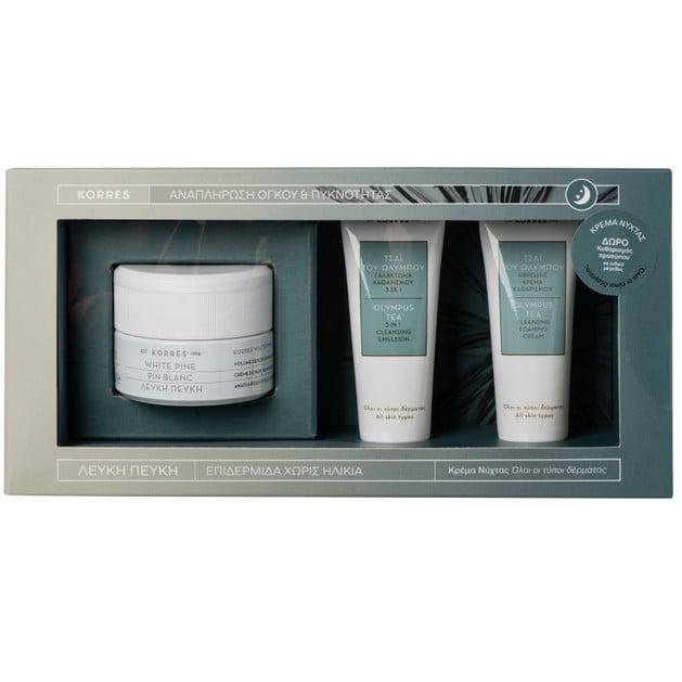 Korres Promo White Pine Λευκή Πεύκη Νύχτας 40ml & Δώρο Olympus Tea Cleansing Foaming Cream 16ml & 3 in 1 Cleansing Emulsion 16ml