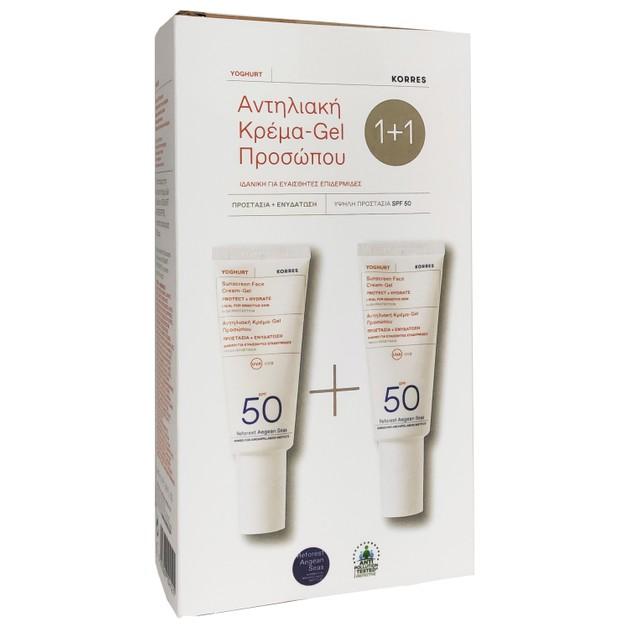 Korres Πακέτο Προσφοράς Sunscreen Face Cream-Gel Protect & Hydrate Spf50 2x40ml 1+1 Δώρο
