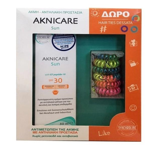 Synchroline PROMO Aknicare Sun SPF30 Αντηλιακή Κρέμα 50ml & ΔΩΡΟ Hair Ties Dessata Λαστιχάκια σε Διάφορα Χρώματα