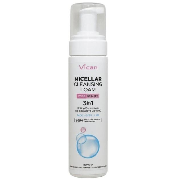 Vican Wise Beauty Micellar Cleansing Foam Απαλός Αφρός για Βαθύ Καθαρισμό της Επιδερμίδας 200ml