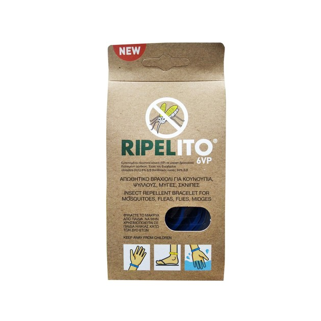 Ripelito 6VP Απωθητικό Βραχιόλι για Κουνούπια Ψύλλους Μύγες Σκνίπες και Άλλα Έντομα σε Διάφορα Χρώματα 1τμχ
