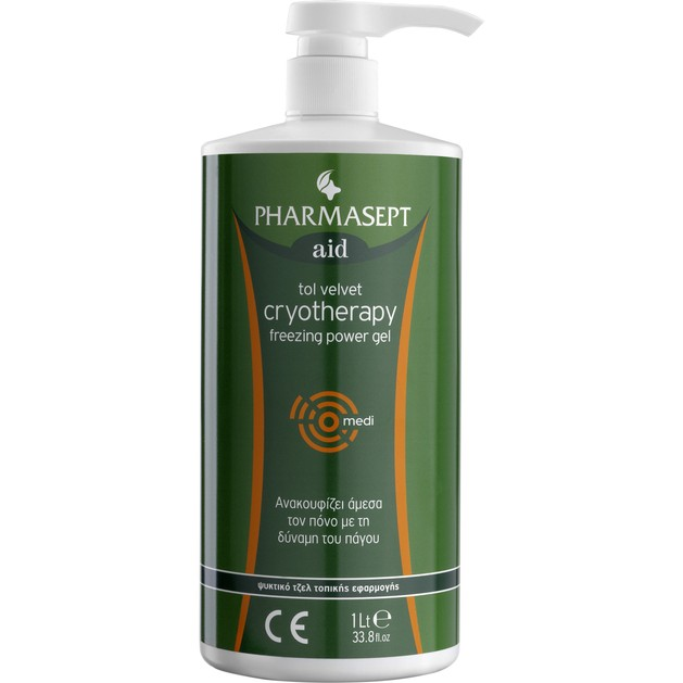 Pharmasept Aid Tol Velvet Cryotherapy Ψυκτικό Τοπικό Αναλγητικό Τζέλ με Φυτικά Εκχυλίσματα 1Lt