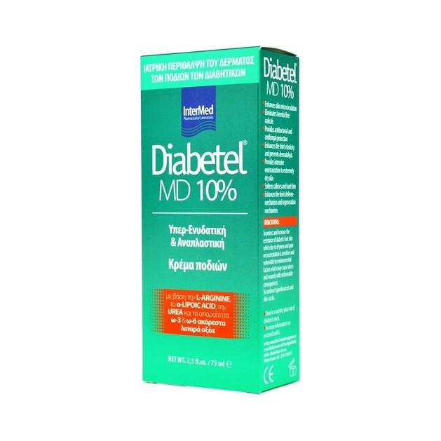Intermed Diabetel MD 10% Ενυδατική και Αναπλαστική Κρέμα Ποδιών Κατάλληλη για Διαβητικούς 75ml