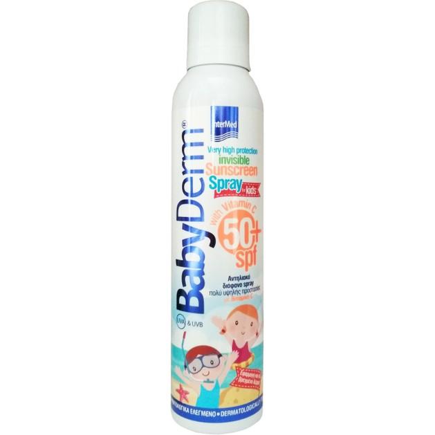BabyDerm Invisible Sunscreen Spray Spf50+ for Kids Παιδικό Διάφανο Αντηλιακό Spray Σώματος Πολύ Υψηλής Προστασίας 200ml
