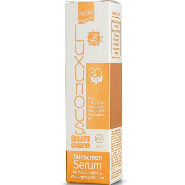 Luxurious Sun Care Sunscreen Face Serum Spf30 Αντηλιακός Ορός Προσώπου για Ενυδάτωση & Προστασία από την Φωτογήρανση 50ml