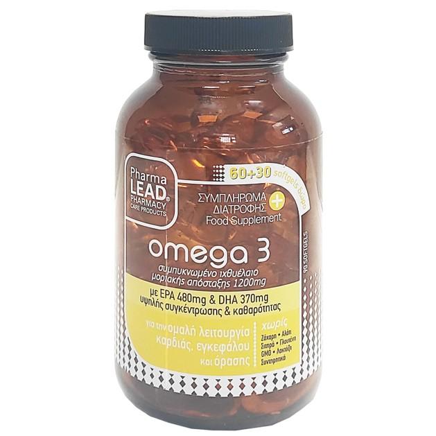 PharmaLead Omega 3 Συμπλήρωμα Διατροφής για την Ομαλή Λειτουργία Καρδιάς, Εγκεφάλου & Όρασης 60Softgels + 30 Δώρο