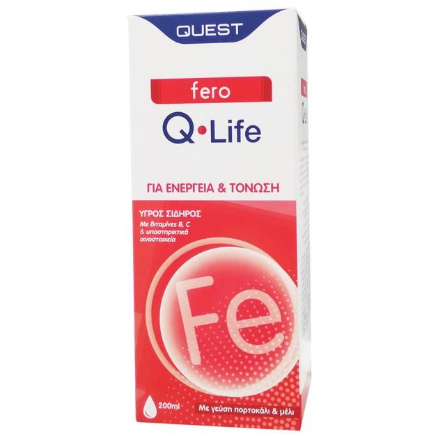 Quest Fero Q-Life Συμπλήρωμα Διατροφής Υγρού Σιδήρου για Ενέργεια & Τόνωση του Οργανισμού, με Γεύση Πορτοκάλι & Μέλι 200ml