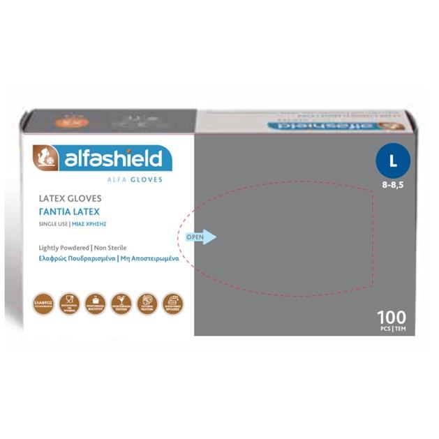 Alfashield Latex Gloves Γάντια Latex Ελαφρώς Πουδραρισμένα, μη Αποστειρωμένα 100 Τεμάχια