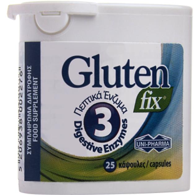 Uni-Pharma Gluten Fix, Συμπλήρωμα Διατροφής που Υποστηρίζει τη Διαδικασία της Πέψης με 3 Πεπτικά Ένζυμα 25κάψουλες