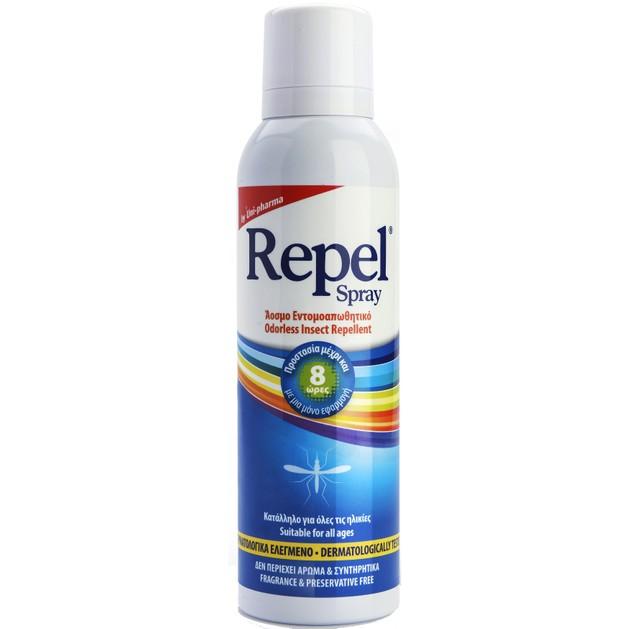 Uni-Pharma Repel Spray Άοσμο Ενυδατικό & Προστατευτικό με Εντομοαπωθητική Δράση & Υαλουρονικό 150ml