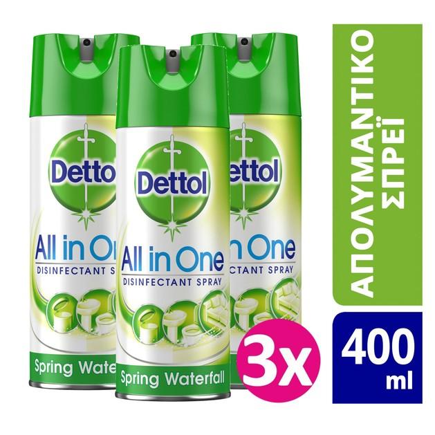 Dettol Πακέτο Προσφοράς All in One Spray Spring Waterfall Απολυμαντικό Αντιβακτηριδιακό Spray 3x400ml