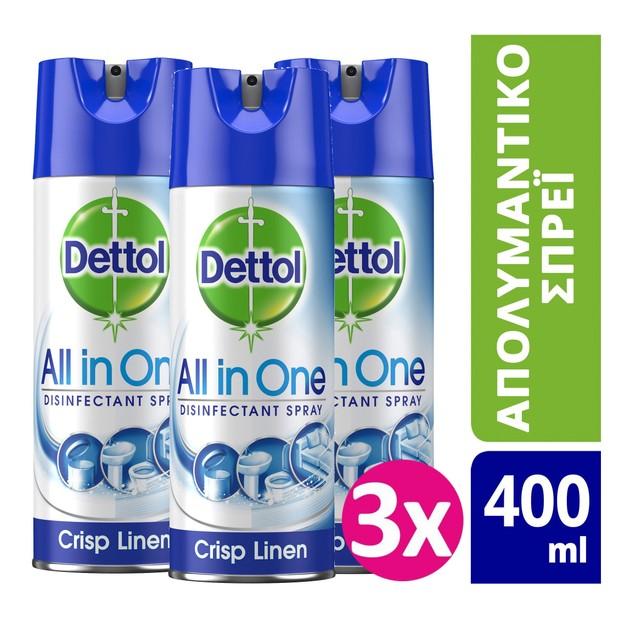 Dettol Πακέτο Προσφοράς All In One Spray Crisp Linen Απολυμαντικό Spray για Σκληρές & Μαλακές Επιφάνειες 3x400ml