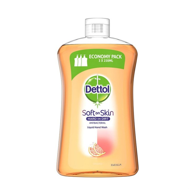 Dettol Liquid Soap Soft on Skin Grapefruit Refill Υγρό Αντιβακτηριδιακό Κρεμοσάπουνο Χεριών Ανταλλακτικό 750ml