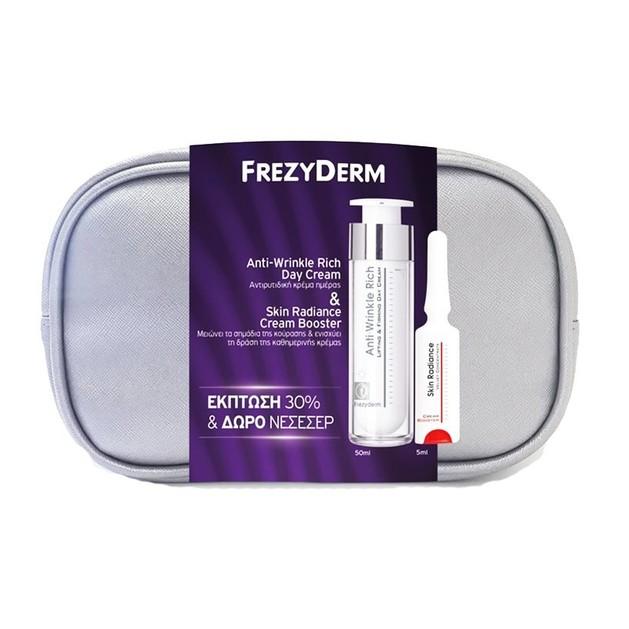 Frezyderm Πακέτο Προσφοράς Anti-Wrinkle Rich Day Cream 45+ 50ml, Skin Radiance Cream Booster 5ml & Δώρο Νεσεσέρ