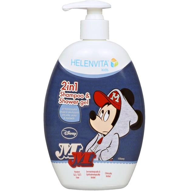 Helenvita Kids Mickey Mouse 2 in 1 Shampoo & Shower Gel Παιδικό Ήπιο Σαμπουάν & Αφρόλουτρο με Υπέροχο Άρωμα 500ml
