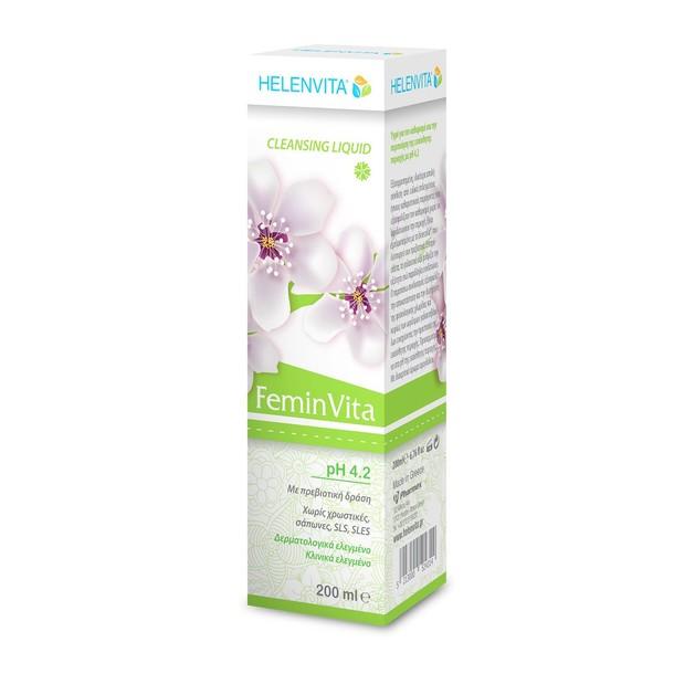 Helenvita FeminVita Cleansing Liquid pH 4.2 Υγρό Καθαρισμού για την Ευαίσθητη Περιοχή με Πρεβιοτική Δράση 200ml Promo -35%