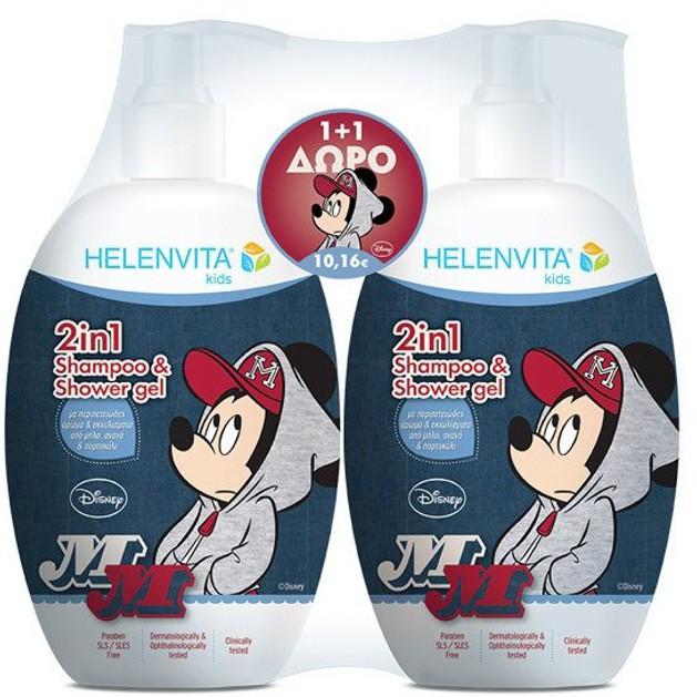 Helenvita Kids Mickey Mouse 2 in 1 Shampoo & Shower Gel Παιδικό Ήπιο Σαμπουάν & Αφρόλουτρο με Υπέροχο Άρωμα 1+1 Δώρο 2x500ml