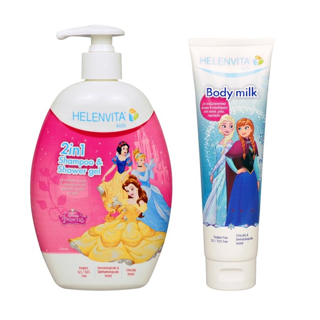 Helenvita Πακέτο Προσφοράς Princess Kids  2 in 1 Shampoo & Shower Gel 500ml & Δώρο Kids Frozen Body Milk 150ml