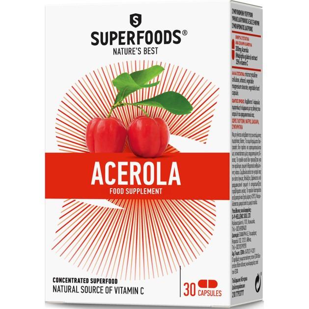 Superfoods Ασερόλα 300mg Συμπλήρωμα Διατροφής με Τιτλοδοτημένο Εκχύλισμα Φυσικής Βιταμίνης C 30 Soft.Caps