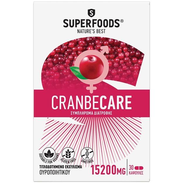 Superfoods Cranbecare 15200mg Συμπλήρωμα Διατροφής για Άτομα με Επανεμφανιζόμενες Λοιμώξεις του Ουροποιητικού Συστήματος 30caps