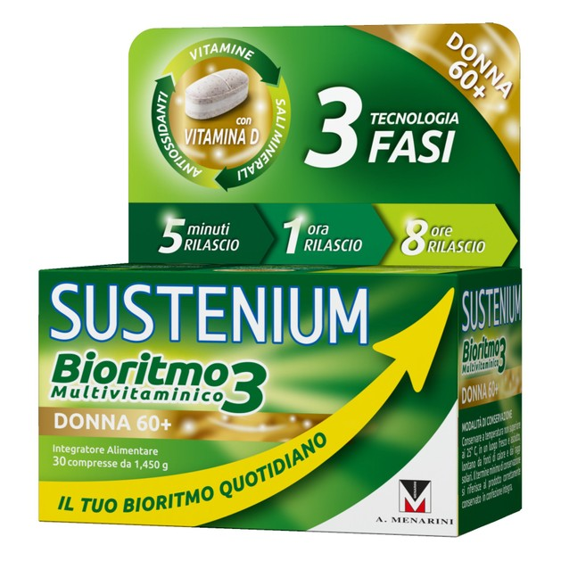 Menarini Sustenium Biorhythm3 Woman 60+ Συμπλήρωμα Διατροφής,Πολυβιταμίνη Ειδικά Σχεδιασμένη για Γυναίκες Άνω των 60 Ετών 30caps