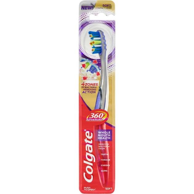 Colgate 360 Advanced Health Medium Οδοντόβουρτσα Μέτρια που Απομακρύνει τα Βακτήρια του Στόματος 1 Τεμάχιο