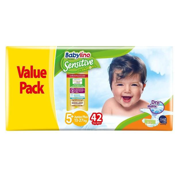 Babylino Sensitive Value Pack Junior Plus Νο5+ (13-27kg) Παιδικές Πάνες 42 τεμάχια