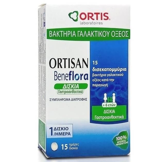 Ortis Ortisan Beneflora Συμπλήρωμα Διατροφής με Βακτήρια Γαλακτικού Οξέος για Καλή Εντερική Λειτουργία 15Tabs