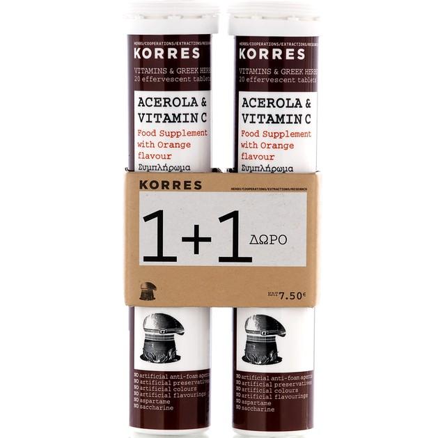 Korres Acerola & Vitamin C 1+1 Δώρο 2χ20eff.tabs