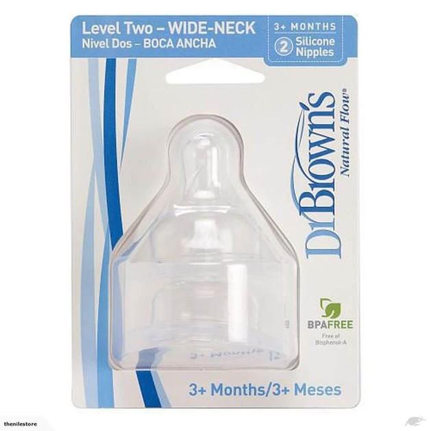 Dr. Brown\'s 372-GB Σιλικόνης Θηλές για Μπιμπερό με φαρδύ λαιμό, επίπεδο 2, για βρέφη 3 - 6 μηνών, 2 τεμάχια