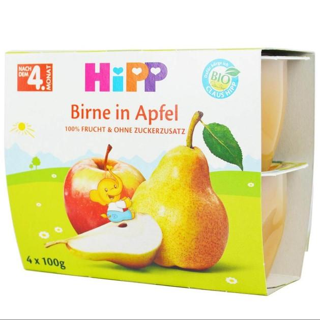 HIPP Φρουτοκουπάκια Αχλάδι με Μήλο από τον 4ο Μήνα 4x100g